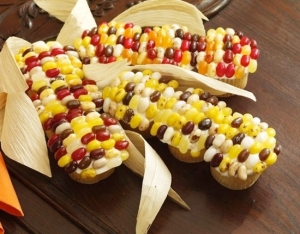 Of course, it's like making the cupcake corn on the cob, but at least you can use more colored jelly beans as kernels.