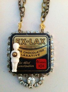 "Then again, I'm not sure if I'd want to wear a necklace with a tin that says ""Ex-Lax, the Chocolate Laxative"" on it. Vintage or otherwise."