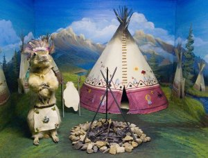 And it seems like this one is a Plains due to living in a teepee and sporting an elaborate headdress. Hey, what am I saying? Groundhogs are native to North America and they don't dress like that at all.