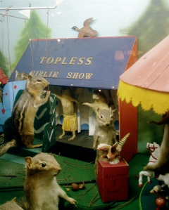 While Chip likes to look at the mini taxidermied pheasants, Dale wants to see a topless girlie show. You know this won't be resolved easily.