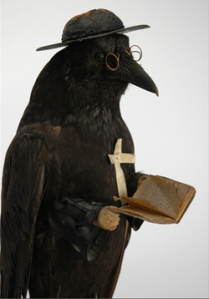 "Now this old bird is from the Victorian Era. Still, he's pretty sharp and well read in his scripture, isn't he. Of course, don't ask about his habit of saying, ""Nevermore"" at funerals."