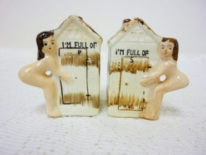 "Still, knowing that the ""P"" can mean ""pee"" or ""piss"" while the ""s"" could pertain to ""shit,"" let's just say the premise of outhouse salt and pepper shakers is rather disgusting once you really think about it."