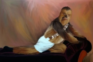 Now let's say that there are some women who may find a walking carpet like Chewie rather sexy, but those girls usually attend furry conventions. Still, this is a great Star Wars take off from that picture of George in that Seinfeld episode.