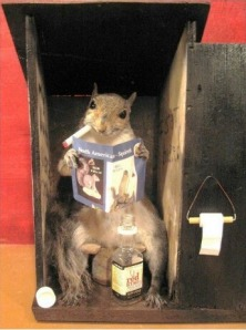 Yeah, he doesn't want anyone to know he's in the outhouse smoking, drinking, and looking at nudie pictures of other squirrels. He'd very much like it if you shut the door.