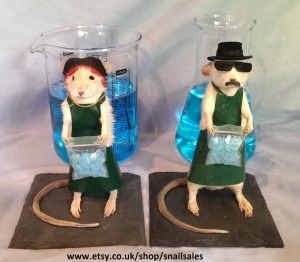 Yes, these are Breaking Bad taxidermied mice. Yes, these are Walt and Jesse. And yes, we have to acknowledge that meth is a big problem in the mouse community as well.