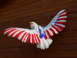 I'm sure most of its feathers are fake on this star spangled bird of prey. Still, you bet they'd breed one live if they could.