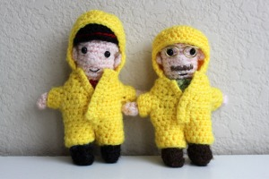 Both these guys come with their own removable suit and Walter has his hat. Also, when you take Walter's yellow suit off, he has no pants. Just his tidy whiteys.