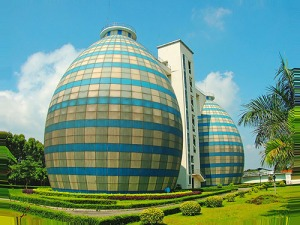 This is the Zhangzhou Sewage Treatment Plant in China. Now sewage treatment plants aren't known for their architecture. Yet, this one does solely on it's massive sized tartan balloons alone.