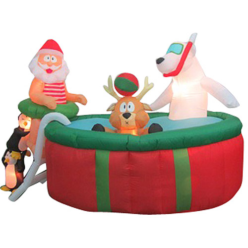 Up on the housetop on christmas inflatable decorations for Animated polar bear christmas decoration