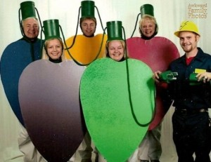 Can anyone please explain to me how they thought dressing up as Christmas light bulbs was a good idea? Because they seem to be some kind of rendition of Fruit of the Loom characters.