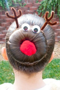 Now this is how you style your hair for an ugly sweater party. Still, very funny. Why didn't I think of this?