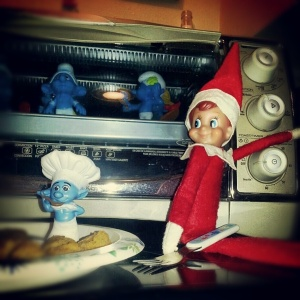 "Of course, for his oven baked Smurfs entree in the toaster oven, Shrimpy will be assisted by traitorous Smurf Chef, ""Cannibal."""
