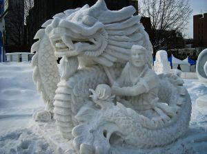 I'm sure this sculpture is a rendition of a Chinese folktale and not a Chinese retelling of  J. R. R. Tolkein's The Hobbit. After all, Asian dragons are seen as wise and powerful sages that help the heroes, which is very different from the Western tradition.