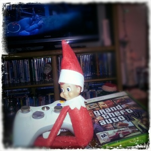 I don't know about you but shouldn't anyone be concerned whenever there's an Elf on the Shelf who enjoys graphically violent and possibly pornographic video games? Seriously, think of the children here.