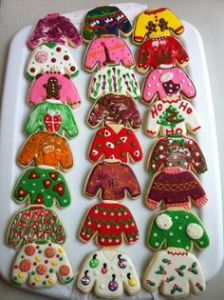 This goes particularly well if you have to go to an ugly sweater party. Still, I wonder who sells sweater cookie cutters?