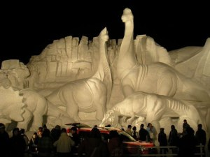 While making a snow sculpture of dinosaurs is okay, just make sure that they don't come to life. You don't want to live through a Jurassic Park situation.
