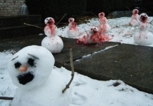 Now I'm sure that it will all be over by spring since these zombie snowmen will have already melted. Still, you might want to get your hair dryer.