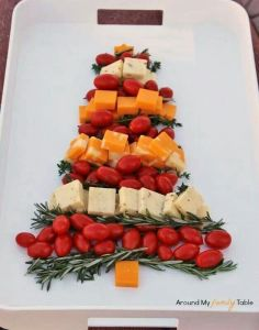 Of course, this platter shows about 4 kinds of cheese and cherry tomatoes. Still, has a lot of color to it if you know what I mean.