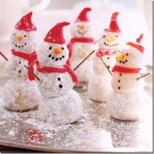 Of course, these snowmen almost look real except that they're made from dough. Yet, I'm sure you can't really eat the arms though or else have your cheeks pierced.