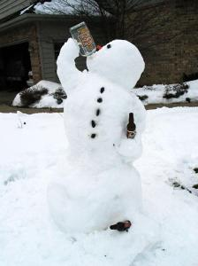 Seems like this snowman has a bit of drinking problem. Perhaps he should consider going on a 12 step or AA. Then again, he may not have the time.