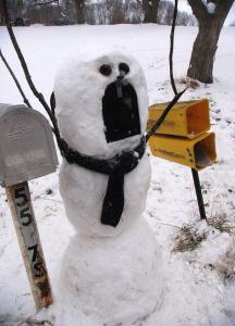 Now I wonder how they manage to make a mail box snowman. I mean don't mailboxes have stands for most of the year. Still, I wonder what mail carriers think about this.