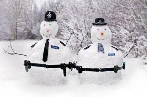 Of course, you know these snowmen are from Britain because of the Bobby police hats. Still, you don't want to go near their nightsticks.