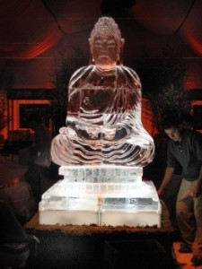 It's said that Buddhist monks gather at a Buddha ice sculpture and watch it gradually melt as a reminder for their own mortality.