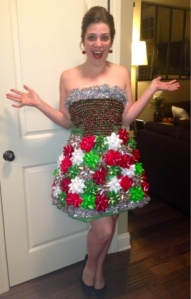 "Yes, this is another bow dress but this one also includes tinsel and seems more Christmasy. Also, she seems to be saying, ""Who wants Christmas cookies?"""