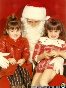 Sure these two girls may look happy, but little do they notice the evil lurking within the Sinister Mr. Kringle. Yes, kids, Santa Claus is evil incarnate.