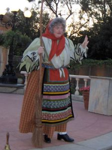 Every Epiphany Eve, the witch La Befana goes to houses where she drops gifts for the children in Italy. Of course, despite looking like an old hag, she's said to be a very nice lady.