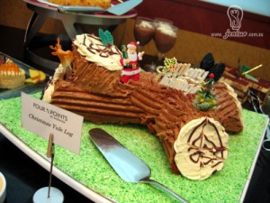 This cake is from a restaurant. Still, seems like Santa is making his rounds in California's Redwood Forest.