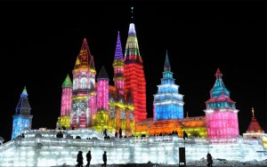 Of course, this is Harbin during its snow and ice festival. And, yes, the ice buildings are lit up like that for the night display. Spectacular isn't it?