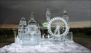 Then again, this might be an ice sculpture of London during a carnival time. I mean some of them tend to resemble buildings you see there, especially the one that looks like a giant Faberge egg.
