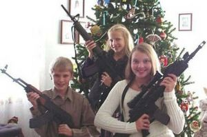 Actually for the love of God, don't ever give your children guns for Christmas, let alone assault rifles. Still, these children seem like they're out to cause a neighborhood shooting spree.
