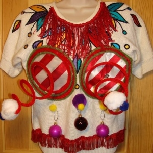 If Madonna had an ugly Christmas sweater for a party, it would certainly look like this.