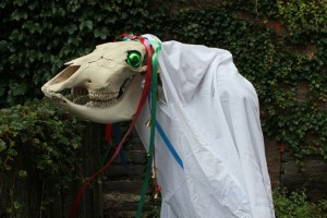 In Wales, we have Mari Lwyd, which is a festival in which a chosen member of the community parades around the street in a dead horse's skull. Must be traumatizing to the Welsh kiddies.
