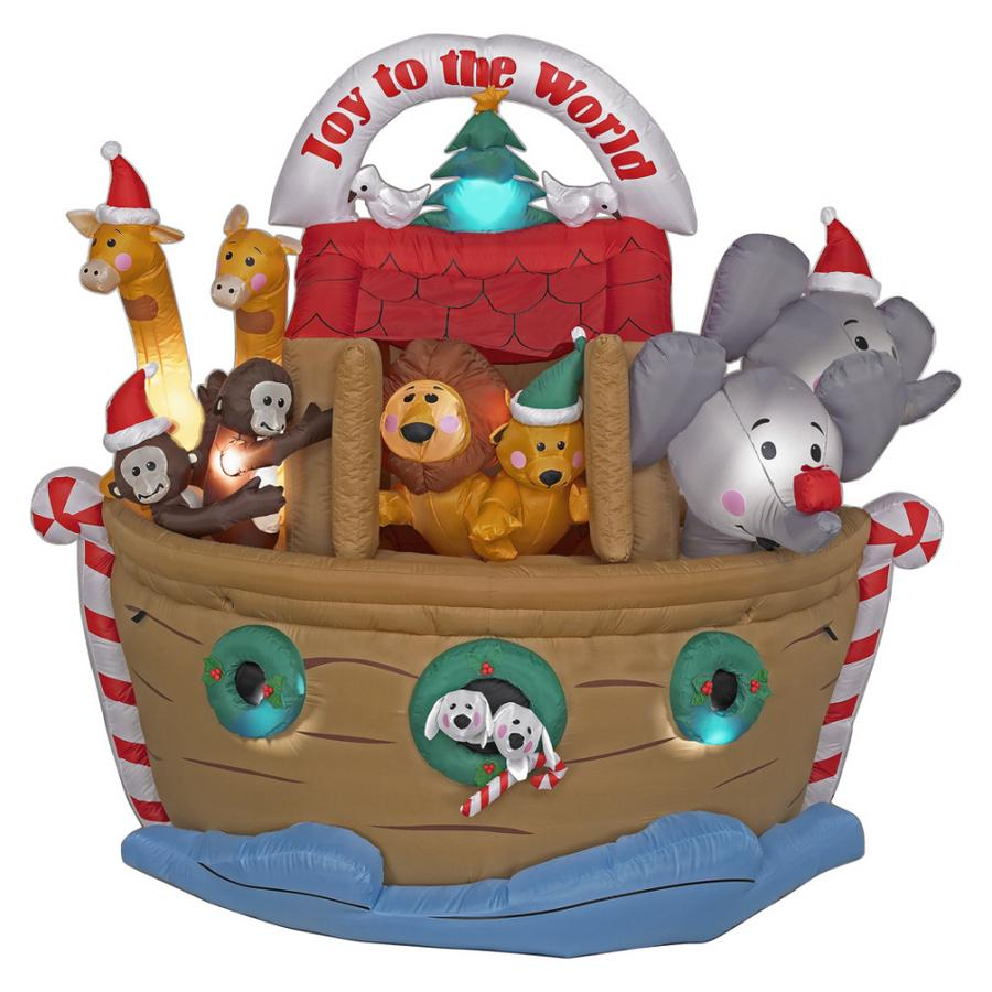 Up on the housetop on christmas inflatable decorations for Noah s ark decorations