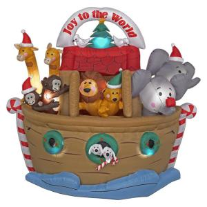As a practicing Catholic, I need to say that this inflatable decoration makes no theological sense whatsoever. I mean most Christians usually celebrate Christmas to honor the birth of Christ. Well, Noah's Ark is recorded in Genesis so there's no reason why it shouldn't have any Christmas decorations on it.