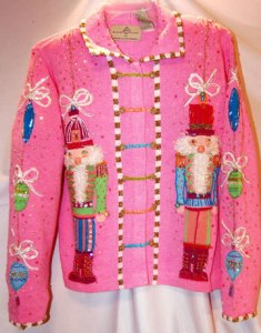 Actually, like the previous one, this pepto pink sweater seems horrendously tacky if you ask me. Also, nutcrackers are kind of creepy.
