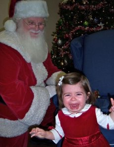 "Santa: ""So little girl, what would you want for Christmas this year?"" Little Girl: ""Mommy, please, don't make me sit on that man's lap. He looks like he wants to eat me."""