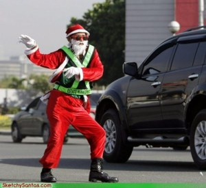 Looks like Santa is very much enjoying this gig that he's doing a little dance at the intersection. Still, he better watch out since there may be a car coming right at him.