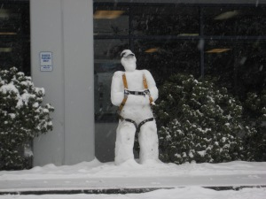 If he wants to scale a building, he better be careful. Else, he might end up like the snowman I showed earlier. You know, the one with the backpack.