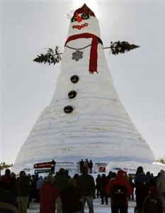 "By ""Olympia Snowe"" I mean this snowman which is said to be the largest in the world. However, I can't help but think that there's something ""phallic"" about it though."