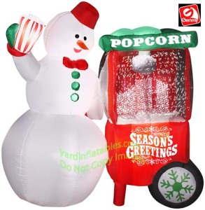 So how does Frosty manage to scoop up the popcorn from the machine without melting his hand? I mean it takes a lot of heat to make popcorn pop doesn't it? Perhaps Frosty should just stick to selling ice cream instead.