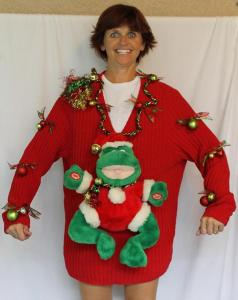 Seriously, what do frogs have to do with Christmas? They don't live in the North Pole. Still, seems like this woman is proud of her creation.