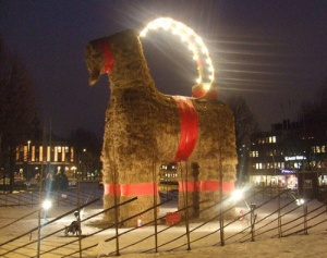 While the Christmas goat is a Christianized Christmas tradition taken from the Norse, the Galve Goat has been a prime target for vandalism and arson since it first burned down around midnight on Christmas Day in 1966.