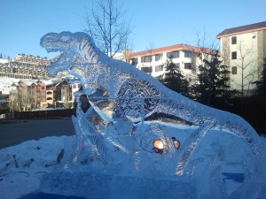 I'm not sure if there was any ice in the Cretaceous period, but this sculpture is totally awesome.