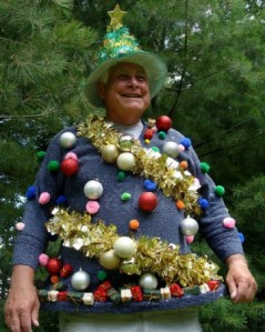 Okay, this guy seems to look less like a Christmas tree and more like a guy who likes to deck himself in tinsel and baubles.