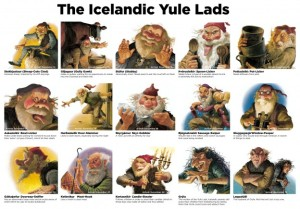 Here is a chart on the 13 Yule Lads and their parents. Each of them has a name in which they're best known for doing. But, let's just say they really mellowed with the coming of Santa Claus.