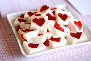 Of course, these are just jello squares with hearts in them. Yet, don't ask me how someone can pull that off because I don't really have jello that much anymore.